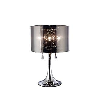 Inspired Diyas - Trace - Table Lamp with Chrome Shade 3 Light Polished Chrome, Crystal