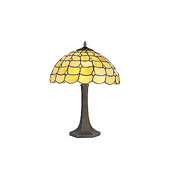 Luminosa Lighting - 2 Light Octagonal Table Lamp E27 With 40cm Tiffany Shade, Beige, Clear Crystal, Aged Antique Brass
