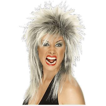 Womens 80s Tina Turner Glam Rock Black And White Wig