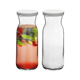 2 Piece Brocca Glass Water Carafe with Lid Set - Decanter Jug for Water, Wine, Iced Tea - 700ml