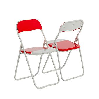 Red / White Padded, Folding, Desk Chair - Pack of 4