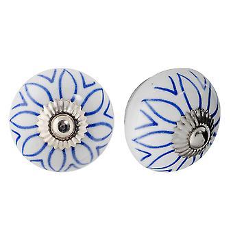 Nicola Spring Ceramic Cupboard Drawer Knobs - Floral Design - Light Blue - Pack of 12