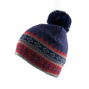 Snowflake Print Knitted Beanie Hat with Pom Pom