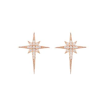 Small Pink White Sparkly North Star CZ Bridal Jewellery Rose Gold Stud Earrings