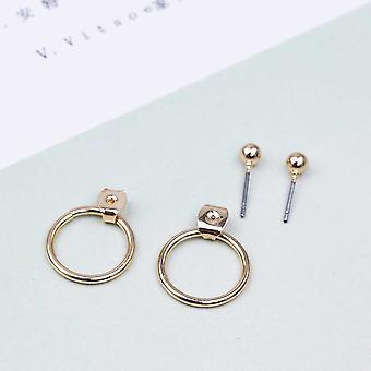 Χαριτωμένο γεωμετρικό στρογγυλό μέταλλο stud σκουλαρίκια καλύτερα