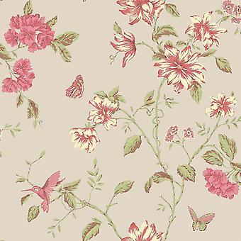 Dark beige and pink flowers wallpaper by galerie