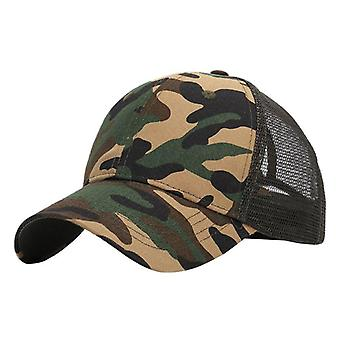 Summer Trendy Ponytail Messy Bun Hip Hop Camouflage Breathable Mesh Hat