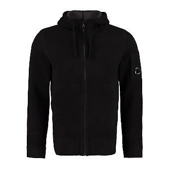 C.p. company men's black lambswool zipped lens hooded sweatshirt