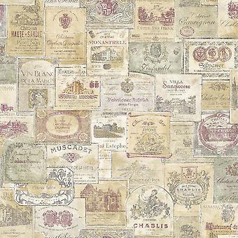 Galerie Wine Labels Carta da parati a colori