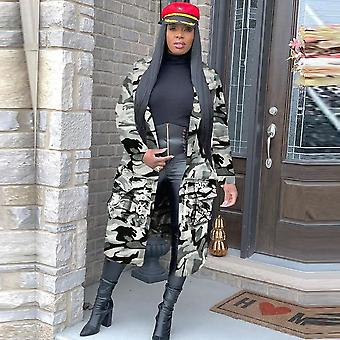 Plus Size Camouflage Trench Coat, Women Autumn Casual Letter Print Pockets Long