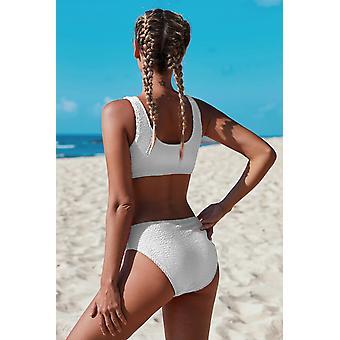 Scoop Neck Crop Top, Mid Rise Bottom Sprot Swimsuit