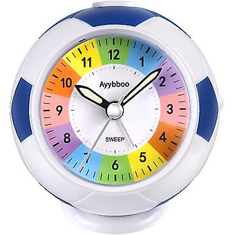 PROKING Alarm Clock for Kids Children Bedside Non Ticking Football Kids Clock