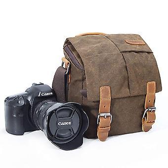 Camera bag, vintage canvas camera shoulder bag waterproof leather trim dslr slr shockproof camera me
