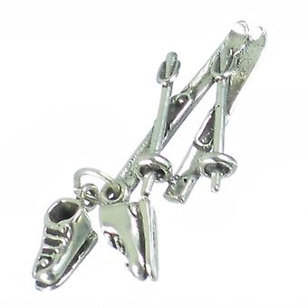 Skis With Poles And Boots Sterling Silver Charm .925 X 1 Skiing Charms - 2855