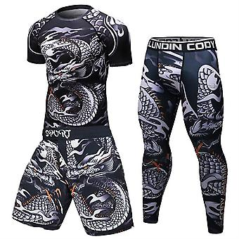 Men Tracksuit Sports Fitness Compression Clothes Running Jogging Sports Wear