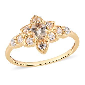 Imperial Topas, weiß Zirkon Floral Ring vergoldet Silber Natur Liebhaber Geschenk