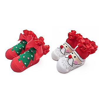 Ehdching First Christmas and Holiday Cotton Unisex Newborn Baby Infant Toddler Gift Socks (0-12M)