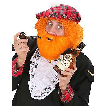Baret met pruik en volwassen Schotse baard