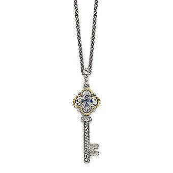 925 Sterling zilver gepolijste prong set kreeft klauw sluiting met 14k .27ct saffier en .03ct diamond key ketting juweel