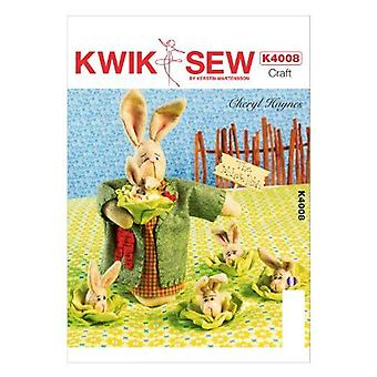 Kwik Sew Sewing Pattern 4008 Mama Bunny Baby Bunny Cabbages One Size Uncut