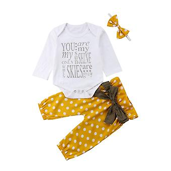 Newborn Infant Baby Letter Romper Top+bow Dot Pants