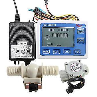 "Digital lcd display quantitative controller water control + 1"" hall effect flow sensor flowmeter + 1"" solenoid valv-e n/c norma"
