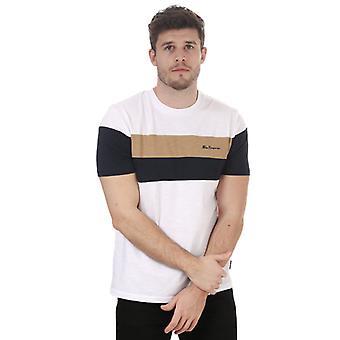 Camiseta ben sherman heritage sports block de hombres en blanco