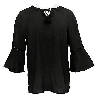 Denim & Co. Women's Crinkle Gauze Bell Sleeve Top W/ Dot Lace Black A306777