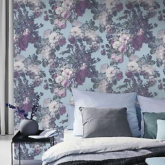 Elle Decoration Floral Baroque Wallpaper Teal Pink Green 1015318