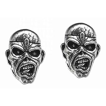 Iron Maiden Stud Earrings Piece Of Mind Eddie Band Logo new Official Metallic