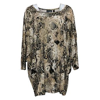 Women With Control Women's Plus Top Jersey Metallic Tunic Gold A390204