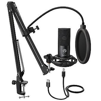 Professionele usb microfoon condensator kit met verstelbare schaar armstandaard en schokdempen voor streaming, voice-overs, gaming, podcasting etc.
