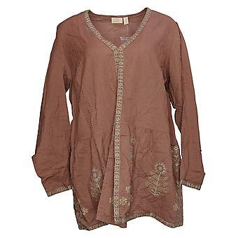 LOGO By Lori Goldstein Women's Sweater Plus Woven Cardigan Brown A369082