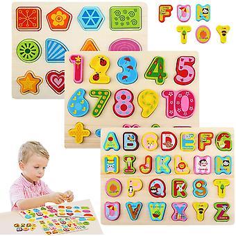 FengChun Holzpuzzle, Buchstaben Puzzel ab 1 2 3 Jahre, Steckpuzzle Lernspielzeug Pdagogisches,