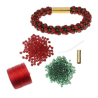 Påfyllning - Deluxe Spiral Pärl Kumihimo Armband - Julglädje - Exklusivt Beadaholique Smycken Kit