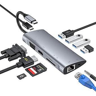 FengChun USB C Hub,11-in-1-Adapter Typ C mit 4K-HDMI, 1080P-VGA, USB C-Stromversorgung, 1*USB2.0,
