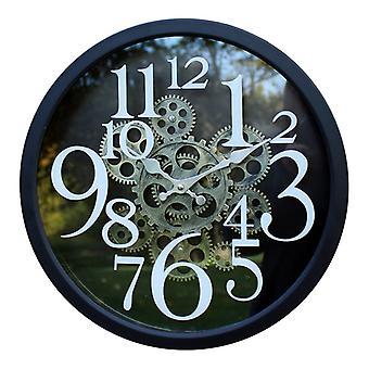 Orologio in stile ingranaggio in metallo nero, 38Cm