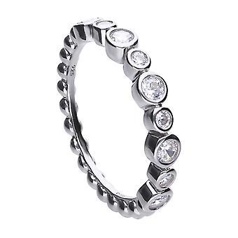 Diamonfire Womens 925 Plata esterlina Rodio, Paladio &Platino Plateado Claro Cúbico Zirconia Round Stone Bubble Design Band Ring