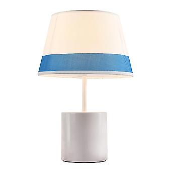 Blue Mediterranean Table Lamp, E27 Bedroom Bedside Lamp, Handmade Fabric Lined With PC Fireproof