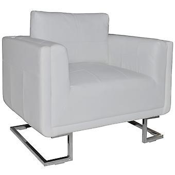 vidaXL kubus fauteuil met verchroomde poten Wit imitatieleer