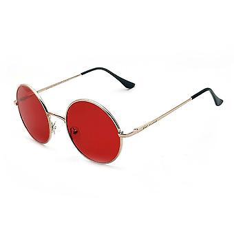 Doğu köyü gezgin metal yuvarlak güneş gözlüğü kırmızı lensli gümüş