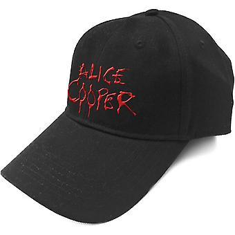 Alice Cooper - Red Dripping Logo Men's Baseball Cap - Black
