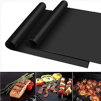 5pcs Non-stick Bbq Grill Mat Reusable Dishwasher Safe Backing Sheet