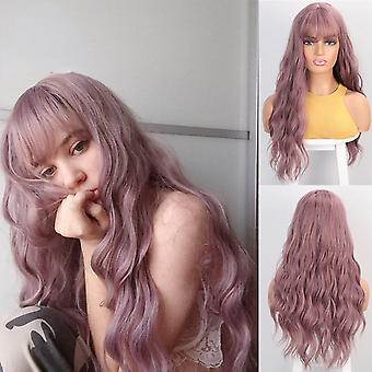 Long wavy women's wig with bangs heat resistant syntetic wigs black/pink/red/brown wigs