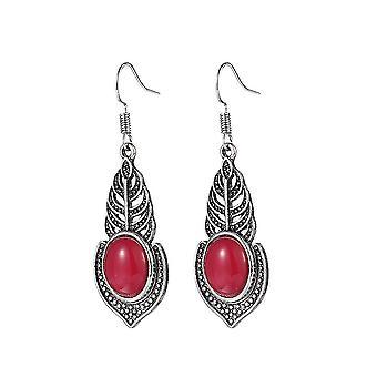 Oorhaken ronde antieke zilveren en retro kwarts rode legering oorbellen voor ceremonie