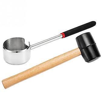 Kokosnuss Öffner Holz Griff Frucht Gummi Fleisch Werkzeug Einfache Verwendung Portable (Holz)