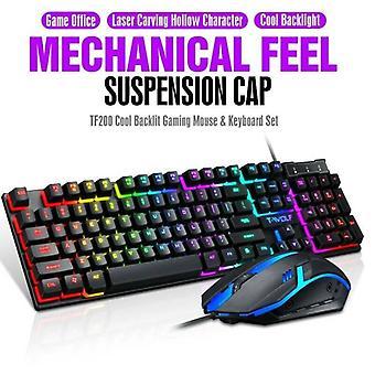 Gaming Rainbow LED Backlit Wired Mechanical Keyboard Mouse Set PC Desktop Laptop