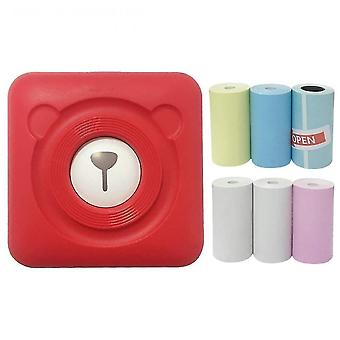 Mini portable termisk etiket peripage printer rejse trådløse printere (rød)