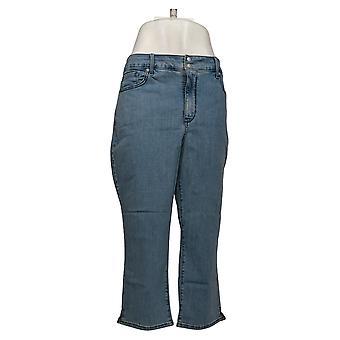 NYDJ Women's Plus Jeans Cool Embrace Skinny Crop Side Slits Blue A377691