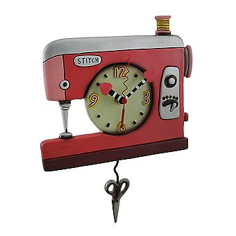 Colorful Double Stitch Red Sewing Machine Pendulum Clock